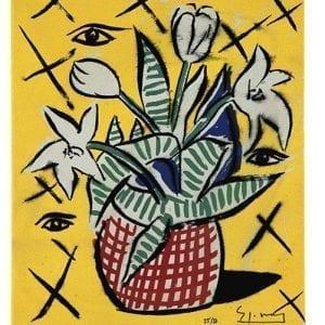 Flowerpott | Print by Stefan Szczesny | 2000 | silk screen on cotton | buy online | Szczesny Art Shop