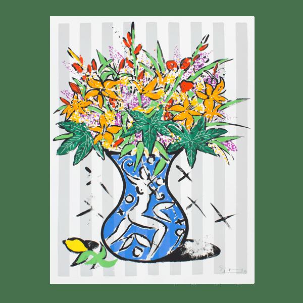 Flowers on Stripes   Print by Stefan Szczesny   1999   Print on Paper   buy online   Szczesny Art Shop