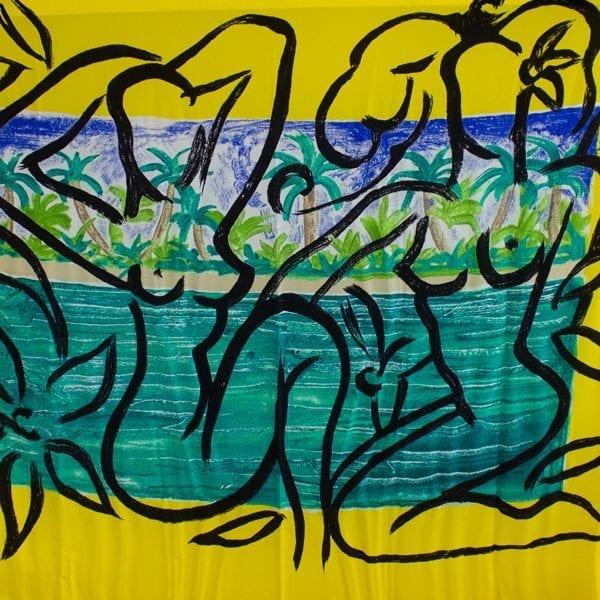 Foulard Maryan Aqua Art Yellow   Fashion by Stefan Szczesny   2000   silk   buy online   Szczesny Art Shop