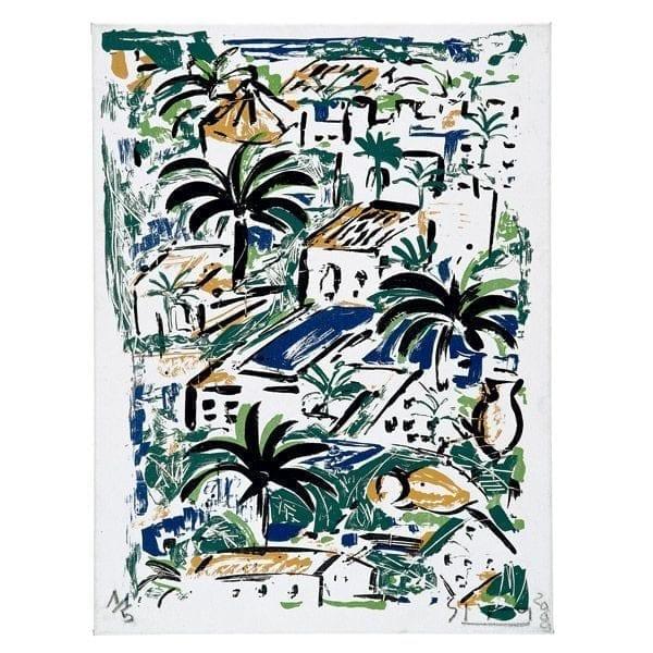 Houses, palmtrees, pools - Mallorca Suite   Painting by Stefan Szczesny   2000   silk screen on paper   buy online   Szczesny Art Shop