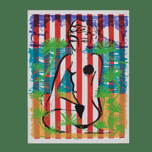 Nude on Red Stripes   Painting by Stefan Szczesny   1999   Print on Paper   buy online   Szczesny Art Shop
