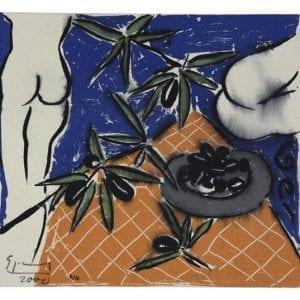 Nude with Olives | Print by Stefan Szczesny | 2000 | silk screen on cotton | buy online | Szczesny Art Shop
