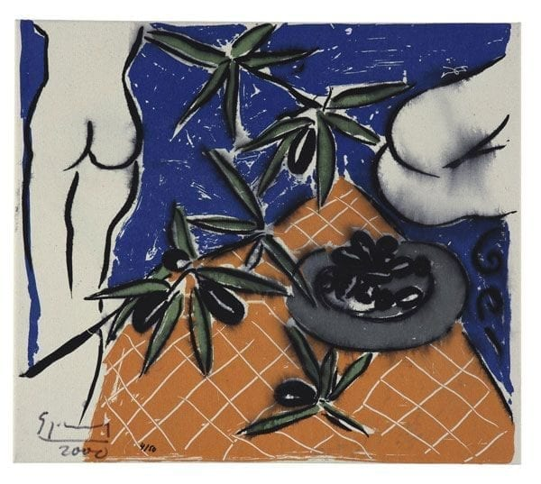 Nude with Olives   Print by Stefan Szczesny   2000   silk screen on cotton   buy online   Szczesny Art Shop