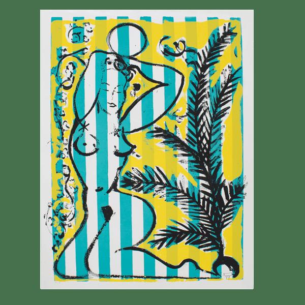Nude with Palms on green stripes | Print by Stefan Szczesny | 1999 | silk screen on paper | buy online | Szczesny Art Shop