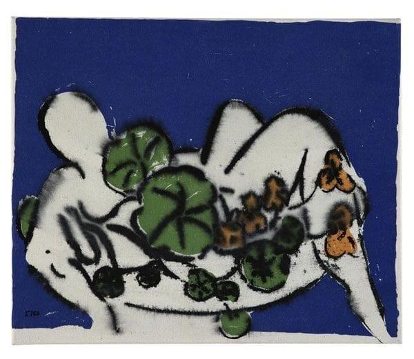 Nude with Plants | Print by Stefan Szczesny | 2000 | silk screen on cotton | buy online | Szczesny Art Shop