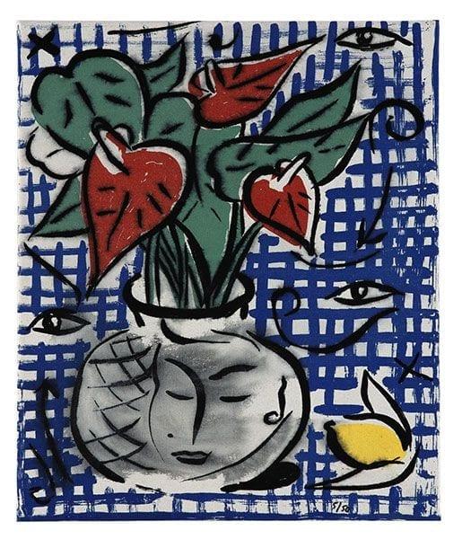 Still Life with Flowers   Print by Stefan Szczesny   2000   silk screen on cotton   buy online   Szczesny Art Shop