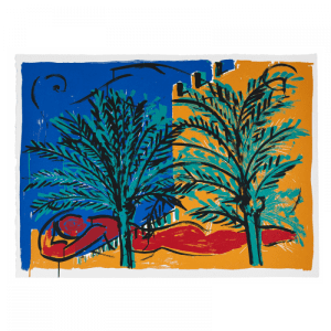 Woman in red reclining - Mallorca suite | Print by Stefan Szczesny | 2000 | silk screen on paper | buy online | Szczesny Art Shop