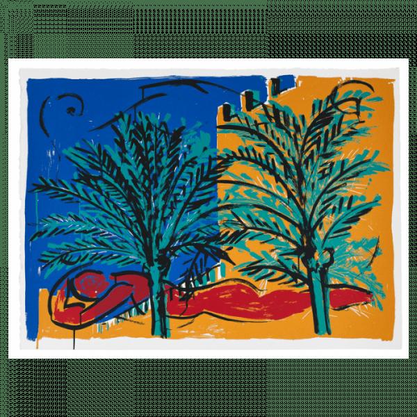 Woman in red reclining - Mallorca suite   Print by Stefan Szczesny   2000   silk screen on paper   buy online   Szczesny Art Shop