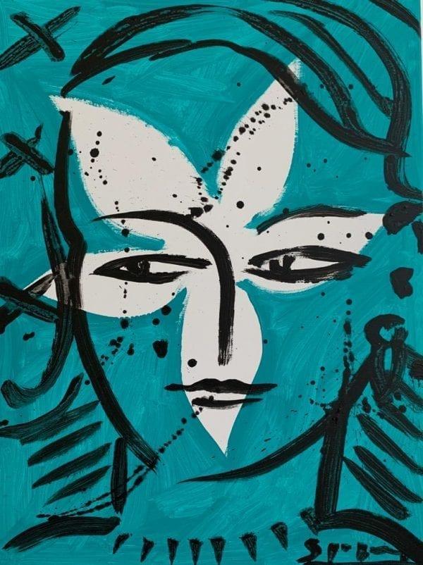 Eva in turquoise 2   Painting by Stefan Szczesny   2019   Acrylic on Canvas   buy online   Szczesny Art Shop