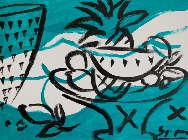 Still Life Turquoise   Painting by Stefan Szczesny   2019   Acrylic on Canvas   buy online   Szczesny Art Shop
