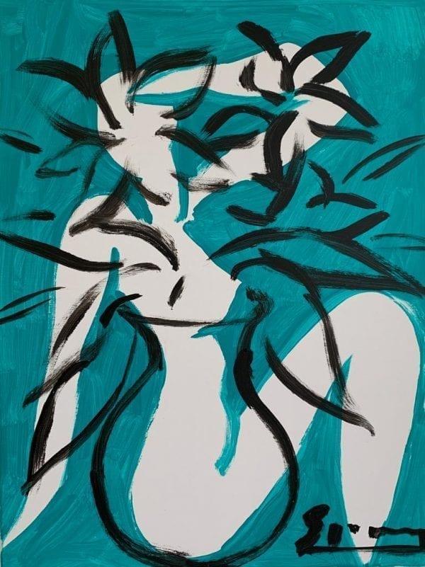 Flowers for Eva | Painting by Stefan Szczesny | 2019 | Acrylic on Canvas | buy online | Szczesny Art Shop