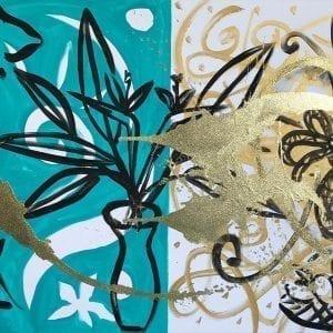 Golden Still Life   Painting by Stefan Szczesny   2017   Acrylic on Canvas   buy online   Szczesny Art Shop