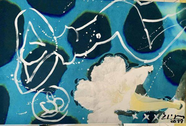 Flowers on Water   Painting by Stefan Szczesny   2021   Acrylic on Canvas   buy online   Szczesny Art Shop