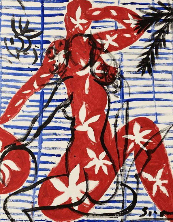 Women in front of blinds | Painting by Stefan Szczesny | 2019 | Acrylic on Canvas | buy online | Szczesny Art Shop