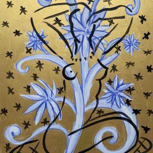 Blue Flowers on Golden Paintings | Painting by Stefan Szczesny | 2010 | Acrylic on Canvas | buy online | Szczesny Art Shop