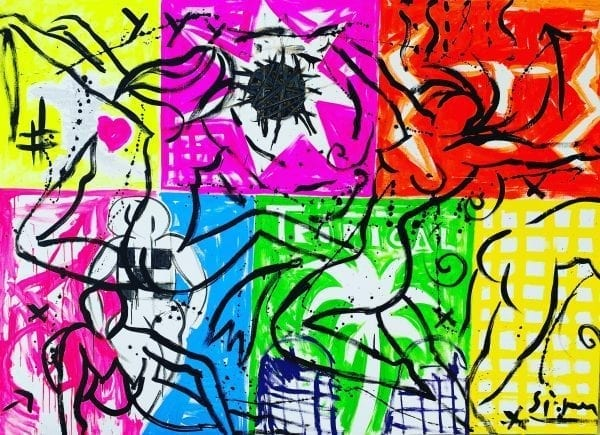 Dancing in the tropical LIght | Painting by Stefan Szczesny | 2020 | Acrylic on Canvas | buy online | Szczesny Art Shop