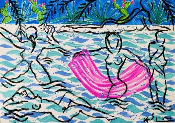 La Baignade | Painting by Stefan Szczesny | 2020 | Acrylic on Canvas | buy online | Szczesny Art Shop