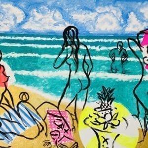 Dejeuner sur le sable | Painting by Stefan Szczesny | 2020 | Acrylic on Canvas | buy online | Szczesny Art Shop