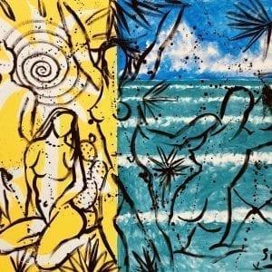 Stefan Szczesny Four Bathers | Painting by Stefan Szczesny | 2020 | Acrylic on Canvas | buy online | Szczesny Art Shop