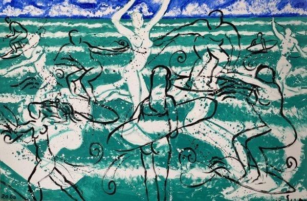 Surfing | Painting by Stefan Szczesny | 2020 | Acrylic on Canvas | buy online | Szczesny Art Shop