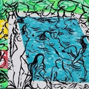 Six Bathers at the Pool | Painting by Stefan Szczesny | 2020 | Acrylic on Canvas | buy online | Szczesny Art Shop