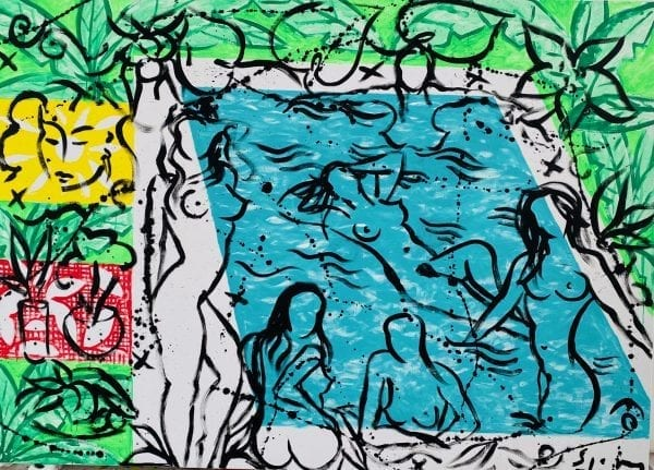 Six Bathers at the Pool   Painting by Stefan Szczesny   2020   Acrylic on Canvas   buy online   Szczesny Art Shop