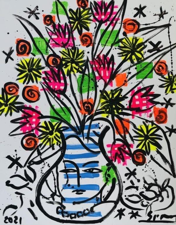 Flower Bouquet | Painting by Stefan Szczesny | 2021 | Acrylic on Canvas | buy online | Szczesny Art Shop