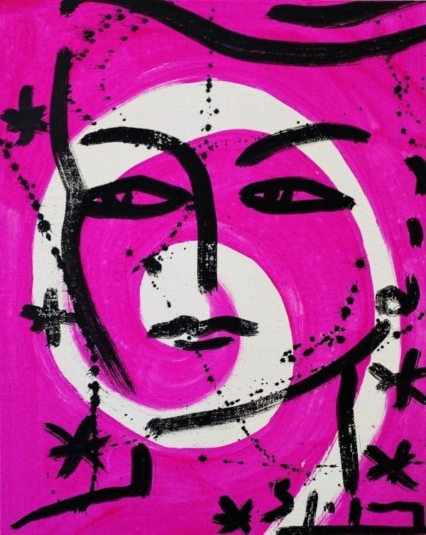 Eva auf pinkem Hintergrund | Painting by Stefan Szczesny | 2021 | Acrylic on Canvas | buy online | Szczesny Art Shop