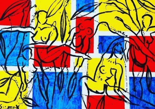 Mondrians Ballet   Painting by Stefan Szczesny   2020   Acrylic on Canvas   buy online   Szczesny Art Shop