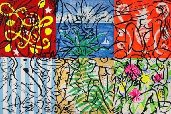 Mustique Dream   Painting by Stefan Szczesny   2021   Acrylic on Canvas   buy online   Szczesny Art Shop