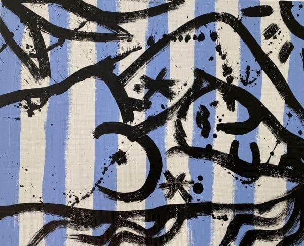 Akt auf blauem Streifen   Painting by Stefan Szczesny   2020   Acrylic on Canvas   buy online   Szczesny Art Shop