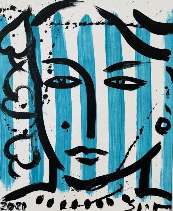 Eva auf blauen Streifen | Painting by Stefan Szczesny | 2021 | Acrylic on Canvas | buy online | Szczesny Art Shop