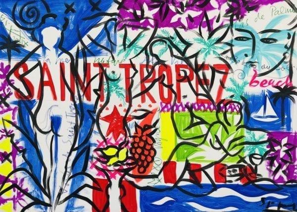 Saint-Tropez Beachlife   Painting by Stefan Szczesny   2021   Acrylic on Canvas   buy online   Szczesny Art Shop