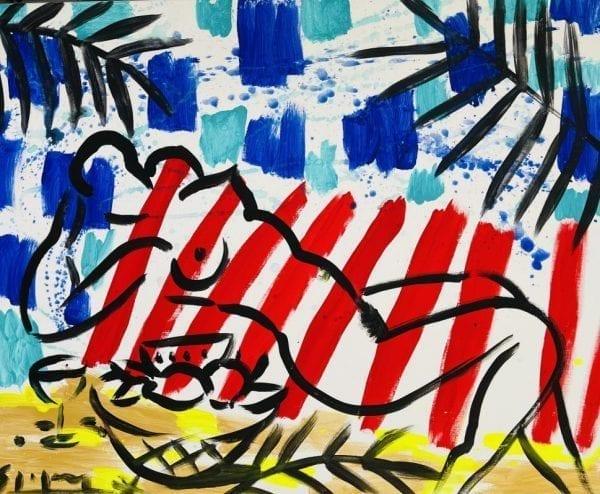 Liegender Akt mit Stilleben | Painting by Stefan Szczesny | 2021 | Acrylic on Canvas | buy online | Szczesny Art Shop