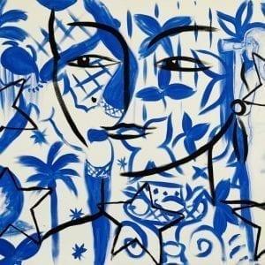 Blue Dance | Painting by Stefan Szczesny | 2021 | Acrylic on Canvas | buy online | Szczesny Art Shop