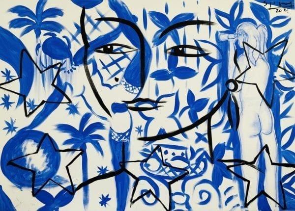 Blue Dance   Painting by Stefan Szczesny   2021   Acrylic on Canvas   buy online   Szczesny Art Shop