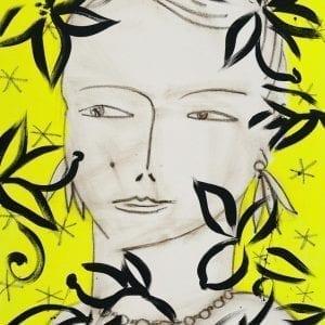 Eva sur fond jaune | Painting by Stefan Szczesny | 2021 | Acrylic on Canvas | buy online | Szczesny Art Shop
