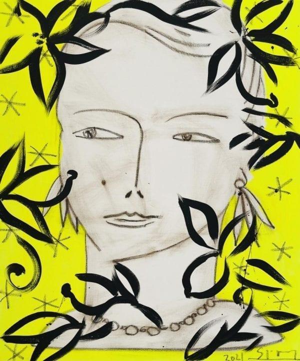 Eva sur fond jaune   Painting by Stefan Szczesny   2021   Acrylic on Canvas   buy online   Szczesny Art Shop