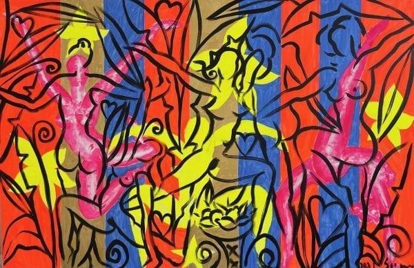 Four Dancers | Painting by Stefan Szczesny | 2021 | Acrylic on Canvas | buy online | Szczesny Art Shop